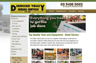 Diamond Valley Hire by TeePlates Web Design Melbourne