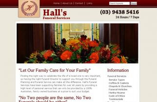 Halls Funeral Services by TeePlates Web Design Melbourne