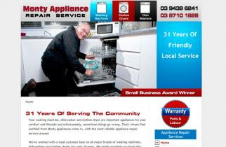 Monty Appliance Repair Service by TeePlates Web Design Melbourne