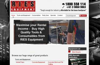 RIES Equipment by TeePlates Web Design Melbourne